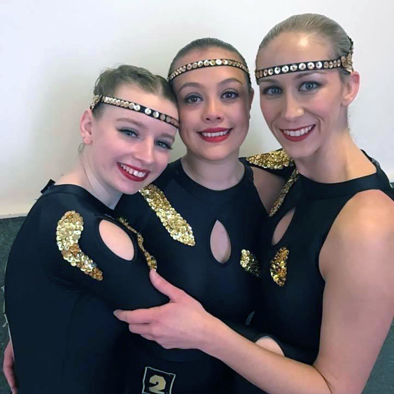 Senior contemporary dance classes at VCM students together in costume